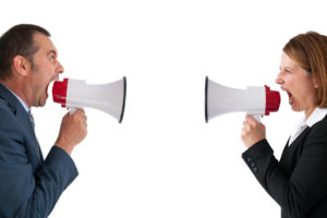 LeadQuine. You're in the Thick of It… Now What?! Man and woman yelling with megaphones.