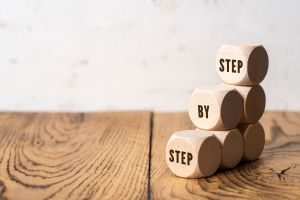 LeadQuine Step by step blocks. Six steps to a better conversation