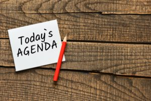 LeadQuine Great Meetings have the Right Agenda blog - Today's Agenda